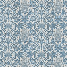 Blue/White Floral Drapery and Upholstery Fabric by Vervain