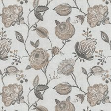 Cream/Beige/Grey Floral Drapery and Upholstery Fabric by JF