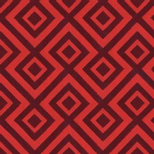 Red Geometric Drapery and Upholstery Fabric by G P & J Baker