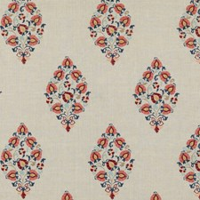 Red/Blue Embroidery Drapery and Upholstery Fabric by G P & J Baker