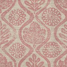 Pink/Oatmeal Botanical Drapery and Upholstery Fabric by Lee Jofa