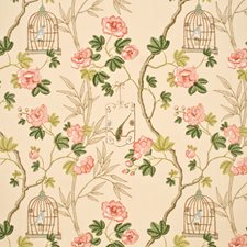 Cream/Pink Print Drapery and Upholstery Fabric by G P & J Baker