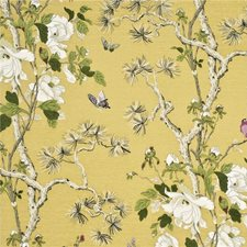 Strong Yellow/Ivory Animal Drapery and Upholstery Fabric by G P & J Baker