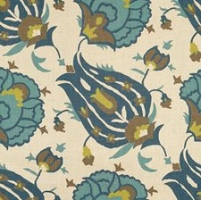 Teal/Aqua Ethnic Drapery and Upholstery Fabric by G P & J Baker