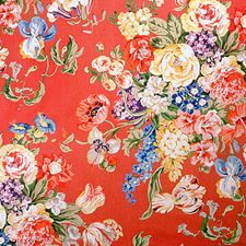 Red Botanical Drapery and Upholstery Fabric by Brunschwig & Fils