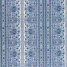Moroccan Blue Geometric Drapery and Upholstery Fabric by Brunschwig & Fils