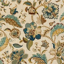 Beige/Blue/Green Botanical Drapery and Upholstery Fabric by Kravet