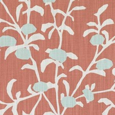 Coral Floral Stylized Drapery and Upholstery Fabric by Duralee