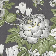 Charcoal Floral Bouquet Drapery and Upholstery Fabric by Duralee