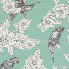 Aqua Birds Drapery and Upholstery Fabric by Duralee