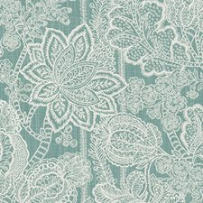 Sea Green Floral Medium Drapery and Upholstery Fabric by Duralee