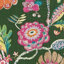 Green/Melon Floral Large Drapery and Upholstery Fabric by Duralee
