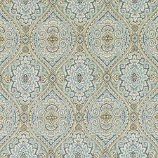 Aqua/Gold Ethnic Drapery and Upholstery Fabric by Duralee