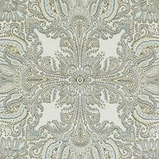 Natural/Aqua Paisley Drapery and Upholstery Fabric by Duralee