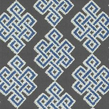 Blue Medallion Drapery and Upholstery Fabric by Duralee
