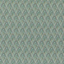 Teal Print Drapery and Upholstery Fabric by Threads