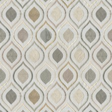 Cream/Gold/Green Ogee Drapery and Upholstery Fabric by JF