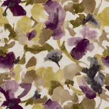 Damson Floral Medium Drapery and Upholstery Fabric by Clarke & Clarke