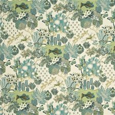 Teal/Leaf Animal Drapery and Upholstery Fabric by Mulberry Home