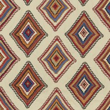 Sienna/Red/Blue Embroidery Drapery and Upholstery Fabric by Mulberry Home