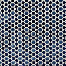 Blue Geometric Drapery and Upholstery Fabric by Groundworks