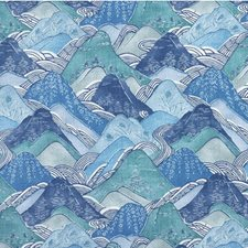 Teal Print Drapery and Upholstery Fabric by Groundworks