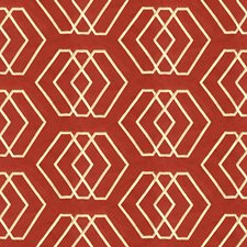 Sand/Red Geometric Drapery and Upholstery Fabric by Groundworks