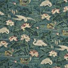 Teal/Rose Print Drapery and Upholstery Fabric by G P & J Baker
