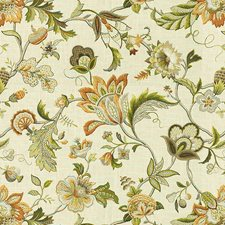 Beige/Green/Orange Jacobeans Drapery and Upholstery Fabric by Kravet