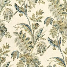 Indigo Botanical Drapery and Upholstery Fabric by Kravet