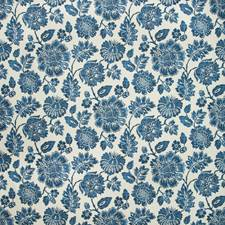 Ivory/Indigo Botanical Drapery and Upholstery Fabric by Kravet