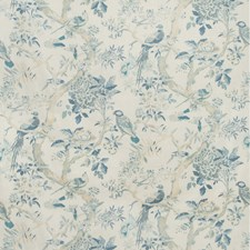 Ivory/Blue/Beige Botanical Drapery and Upholstery Fabric by Kravet