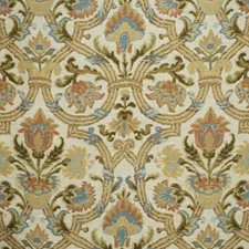 Clay/Aqua Botanical Drapery and Upholstery Fabric by Lee Jofa
