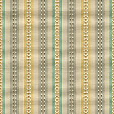 Teal/Yellow Stripes Drapery and Upholstery Fabric by Baker Lifestyle