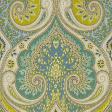 Teal/Lime Damask Drapery and Upholstery Fabric by Baker Lifestyle