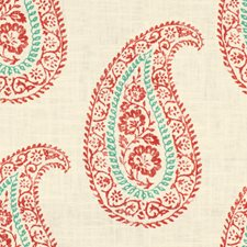Pimento/Aqua Paisley Drapery and Upholstery Fabric by Baker Lifestyle