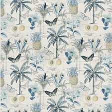 Blue Print Drapery and Upholstery Fabric by Baker Lifestyle