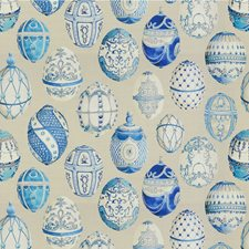 Beige/Blue Novelty Drapery and Upholstery Fabric by Kravet