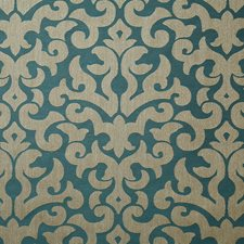 Turquoise Damask Drapery and Upholstery Fabric by Pindler