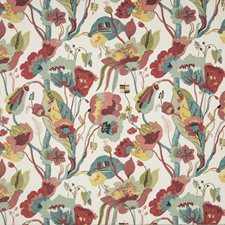 Linen/Teal/Pimento Print Drapery and Upholstery Fabric by G P & J Baker