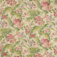 Ivory/Green/Red Botanical Drapery and Upholstery Fabric by Kravet
