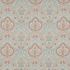 Blue/Orange/Rust Traditional Drapery and Upholstery Fabric by JF