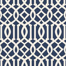 Ivory/Navy Wallcovering by Schumacher Wallpaper