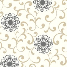 Ivory/Latte/Ebony Floral Medium Wallcovering by York
