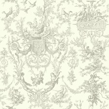 Gray/White Toile Wallcovering by York