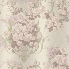 Iridescent Pale Green/Cream/Peach Damask Wallcovering by York
