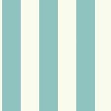 Cream/Bright Aqua Stripes Wallcovering by York