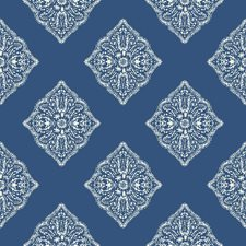 Medium Blue/White Geometrics Wallcovering by York