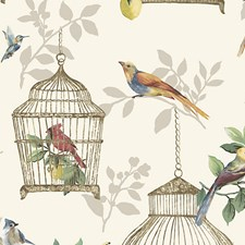 Songbirds On Cream Wallcovering by Scalamandre Wallpaper