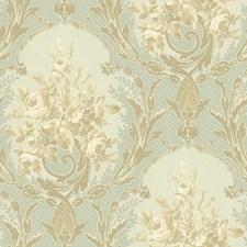 Aquamarine/Pale Aqua/Bright Gold Floral Wallcovering by York